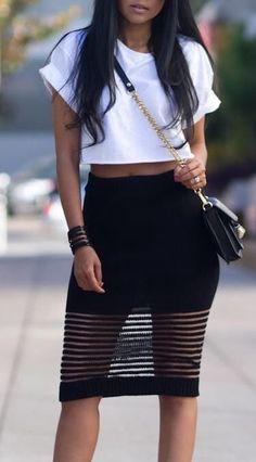 Street style, short white tee, black bandage skirt, black bag