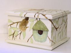 Hand Painted Keepsake Box Birdhouse and Birds by BetweenTheWeeds,sold