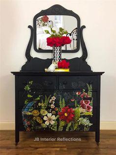 Furniture flip dresser Bohemian Furniture, Funky Furniture, Repurposed Furniture, Furniture Making, Home Decor Furniture, Vintage Furniture, Decoupage Furniture, Chalk Paint Furniture, Hand Painted Furniture