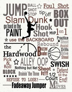 Basketball typography subway art print - Perfect for the basketball lover in your life! Looks great in a bedroom or a game room. Basketball Motivation, Basketball Is Life, Basketball Skills, Basketball Quotes, Sports Basketball, Basketball Players, Basketball Videos, Basketball Season, Basketball Workouts