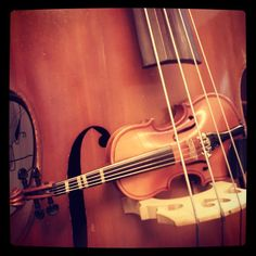 Small violin and a double bass.