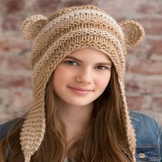 Teddy Love Hat knitted scoodie.    Isn't this adorable!     :)