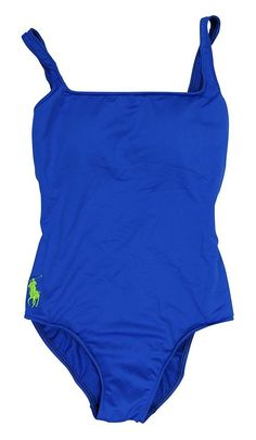 $87 - Ralph Lauren Solid Color One Piece Bathing Suit Blue #ralphlauren