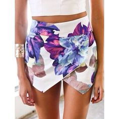 Skirt: flower zara skort crisscross shorts flowers white colours colors short short floral purple