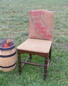 Burlap sack covered Chair