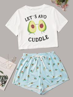 Avocado & Letter Print Pajama Set Check out this Avocado & Letter Print Pajama Set on Shein and explore more to meet your fashion needs! Cute Pyjama, Cute Pajama Sets, Cute Pjs, Pajama Outfits, Pajama Shorts, Ruffle Shorts, Yoga Shorts, Teen Fashion Outfits, Girl Outfits