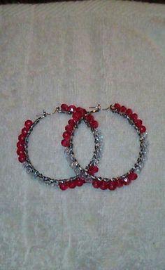 Handmade red and clear crystal hoop earrings.