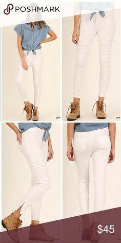 """PLUSNEWMOTO JEGGINGS Washed Moto Jeggings with Pintuck & zipper detail. 60% cotton 40% polyester. XL 36"""" length, 26"""" inseam, 29"""" waist w/o stretch, 35"""" w/stretch. 1X waist 30"""", 36"""". 2X waist 31"""", 37"""". Available in olive, off white, navy, & black! GET YOUR PAIR TODAY!! Pants Ankle & Cropped"""