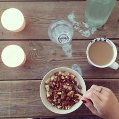 Morning with coffee.