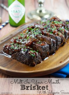 This melt in your mouth Jalapeño Brisket Recipe is a crowd pleaser! All the flavor without the heat. Serve it on your next gathering and it will be a hit. Burger Recipes, Grilling Recipes, Meat Recipes, Cooking Recipes, Healthy Recipes, Game Recipes, Gourmet Burgers, Jewish Recipes, Smoker Recipes