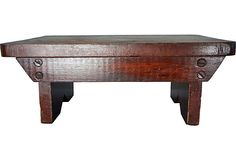 Charming old, primitive but very sturdy footstool can be used to stand on or as an accent piece on a shelf or table. 14 x 8 x 6