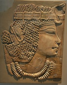 """Queen Tiye ( 1398 BC - 1338 BC ).  Daughter of Yuya and Tjuyu, royal wife of Amenhotep III, mother to Akhenaten and grandmother to Tutankhamun. Her mummy was identified as, """"The Elder Lady"""", found in the tomb of Amenhotep II in 2010."""