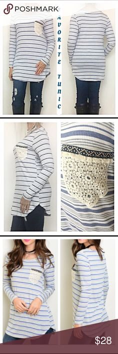 """Favorite Ribbed Crochet Tribal Pocket Tunic S M L You just found your new favorite tunic💙Absolutely adorable in indigo & Ivory stripes with standout crochet pocket trimmed in tribal print & fringe. LOVE IT!  Soft Flowy & stretchy ribbed fabric 80% rayon 16% modal 4% spandex. Perfect length to pair with leggings or skinnies. Brand new from maker without tags 💙  Measurements: Small Bust 32-34 Length 29"""" Medium Bust 34-36 Length 30"""" Large Bust 36-38 Length 31"""" Tops Tunics"""