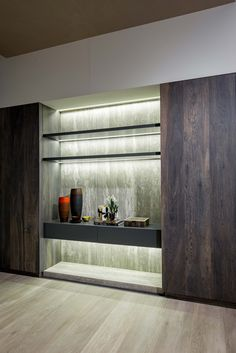 SALONE DEL MOBILE: Florim @ Hall 24   Stand D14-D18 #salonedelmobile #milan #shelves #magnum #slabs #porcelain #travertini #madeinitaly #home #decoration