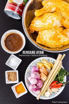 An easy recipe to prepare Indonesian style rendang. The same recipe for the chicken rendang can be used to prepare beef, pork, eggs, and even young jackfruit. Indonesian Cuisine, Indonesian Recipes, Malaysian Food, Malaysian Recipes, Good Food, Yummy Food, Healthy Food, Malay Food, Cooking Photos