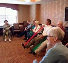 Senior residents of this assisted living community are participating in the Live 2 B Healthy Senior Fitness exercise program that is offered at their community 3 times per week. They work hard to regain their independence and have fun socializing with other residents in a fun atmosphere!