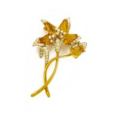 Citrine and Diamond Flower Gold Brooch offered by D. Bressler & Company, Inc. on InCollect Birth Stones, Gold Brooches, Diamond Flower, Gold Style, Brooch Pin, 1960s, Fine Jewelry, Stud Earrings, Gemstones