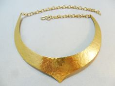 Vintage Collar Necklace / Choker Hammered Gold Tone Metal Chunky Pendant Hook Egyptian Retro Art Deco 1980's Statement by KathiJanes on Etsy