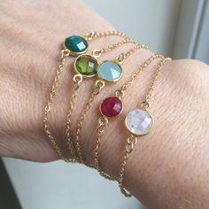 Tiny Gold fill gemstone bracelet, Ruby Emerald Chalcedony Moonstone Peridot, simple layering bracelet Gold fill jewellery Birthstone Jewelry