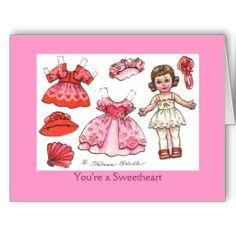 Valentine Paper Doll note card