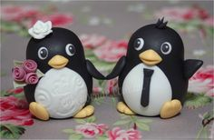 """Bride and Groom Cake Topper. """"Dancing Penguin Design"""" (Hand made from fondant)"""