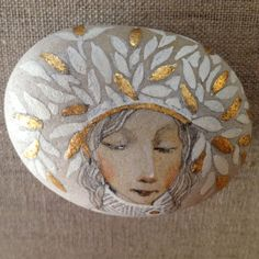 Spring ORIGINAL ART OOAK Hand Painted, Hand Gilded beach stone. $150.00, via Etsy.