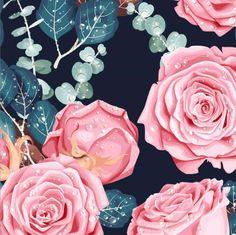 Digitrikoo: Megaruusut, tummansininen   Majapuu Rose, Flowers, Plants, Pink, Plant, Roses, Royal Icing Flowers, Flower, Florals