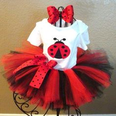 Adorable Little Girls Ladybug Themed Top, Tutu, & Bow Outfit