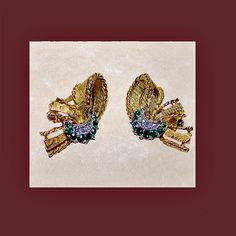 Let's Get Vintage - Earrings - Beautiful faux emerald and diamond earrings. Signed MARBOUX - Vintage Costume Jewelry