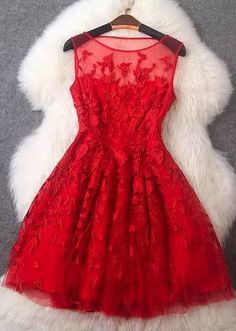 2016Luxury Red Homecoming Dress, Embroidery Sleeveless Prom Dress,Sexy Mini Cocktail Dress