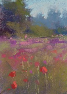 Landscape with POPPIES wildflowers Original Pastel Painting by Karen Margulis red,pink