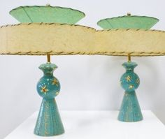 Mid-Century Modern •~• aqua/teal/turquoise and gold table lamps with Fiberglass shades