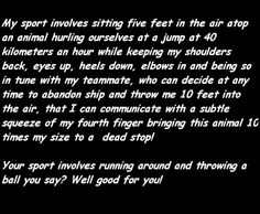 Any show jumpers out there? Anyone dare say it is not a sport?