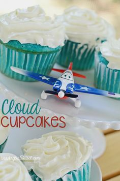 Host a Disney Planes party with these cloud cupcakes. These blue velvet treats will make the perfect Planes tablescape for your next birthday party! #PlanesToTheRescue #ad