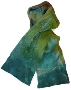 Nuno Felt Scarf Teal Green SEA GODDESS by nunofeltdesigns on Etsy, $54.00