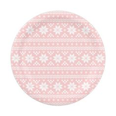 Light Pink Fair Isle Christmas Sweater Pattern Paper Plate