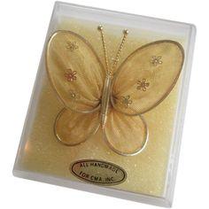 Butterfly Brooch Vintage 1970s Net Pin Pendant New In Box http://www.rubylane.com/item/676693-JL148/Butterfly-Brooch-Vintage-1970s-Net-Pin