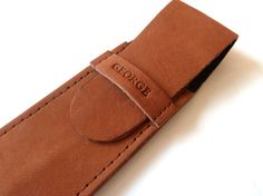 Leather Pen Case Distressed Brown 2 pens by susanholland on Etsy
