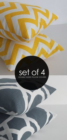 Accent Pillows  Yellow and Gray Pillows  Set of 4  by skoopehome, $80.00