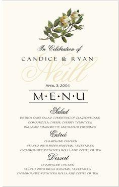 wedding menus ideas - Google Search