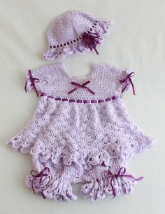 Isabella Purple Dress Set Crochet PatternPA850 by Maggiescrochet, $7.99
