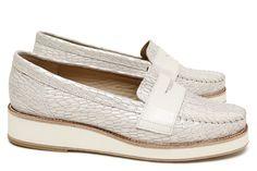 Chaussures Femme Mocassins ¨Printemps Eté 2015 Maurice Manufacture Cosmo blanc argent - Cuir lisse blanc