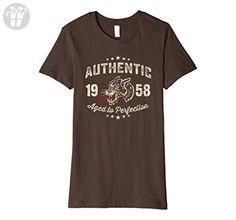 Womens Made In 1958 Birthday Gift T-Shirt Tattoo Medium Brown - Birthday shirts (*Amazon Partner-Link)