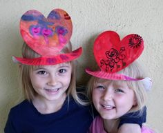 paper plate hats - I am in charge of the craft for Nora's class V-day party, and I think this is what we'll be doing! thanks for the idea, Kara!