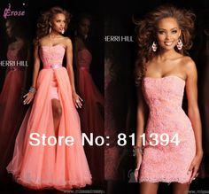 New In Stock Coral Strapless Two In One Dress Mini Prom Dress Cocktail Dress Gown L-003