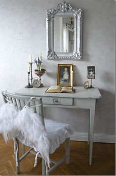 Office Space Whitewashed Cottage chippy shabby chic french country rustic swedish decor idea