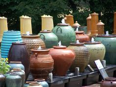 Glazed Urn Fountains. We have over 100 running fountains on display a long our over 1/4 mile garden walk. Visit us in Madison Va. We Ship!