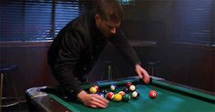 Dean SPN Mother's Little Helper. This gives us a clue as to how many times Dean's played pool over the years. Supernatural Season 9, Supernatural Gifs, Castiel, Jared Padalecki, Sam Winchester, Jensen Ackles, Play Pool, Carrot Top, Jeffrey Dean Morgan