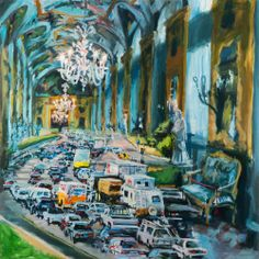 Val Nelson - One of my latest paintings, Rush Hour, 58 x 58 inches, oil on canvas 2014
