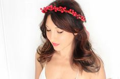 Holiday Headband, red berries, flower Crown, Christmas, Winter Headpiece, Holiday accessory, holiday floral crown, christmas Wedding, by deLoop on Etsy https://www.etsy.com/listing/254609416/holiday-headband-red-berries-flower